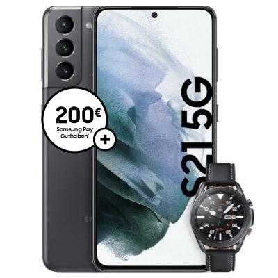 Samsung Galaxy S21 5G + Watch 3 + o2 Free M Boost mit 40 GB